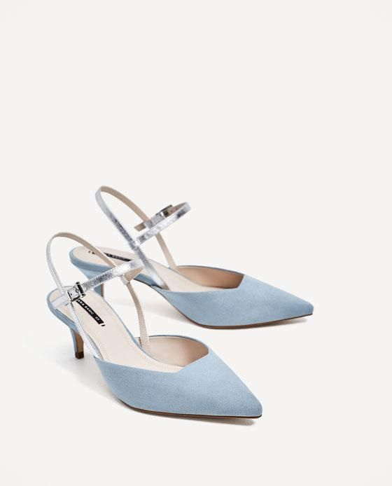 Contrasting Slingback Heeled Shoes