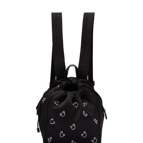 Black Satin Mini Go-Go Pierced Backpack
