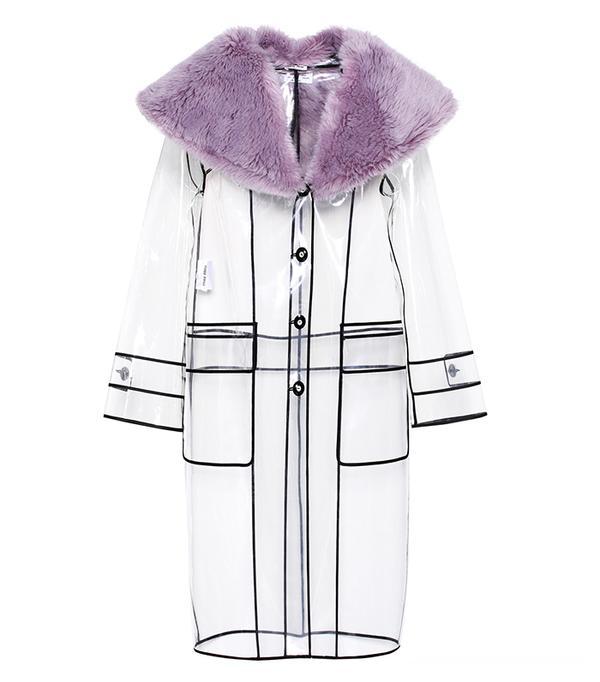Faux fur-trimmed raincoat