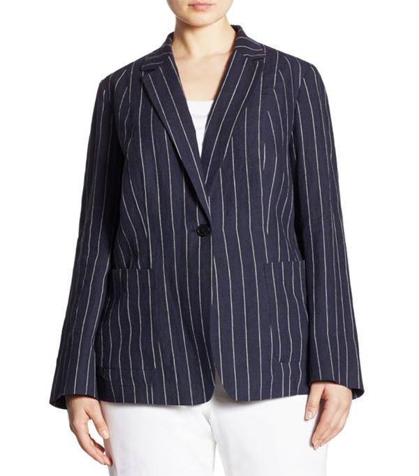 Alba Pinstriped Linen Blazer