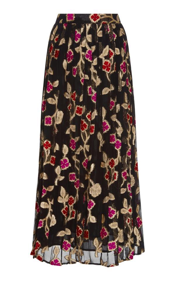 Jenn Floral Lurex Pleated Skirt
