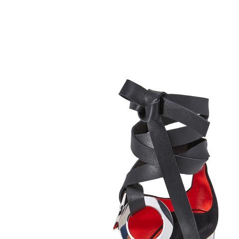 Block Heel Lace Up Sandals