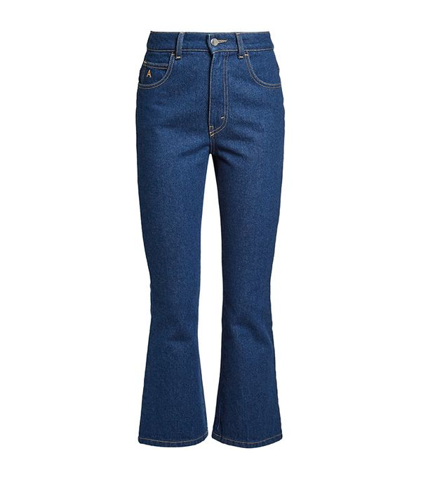 High-rise kick-flare cropped jeans