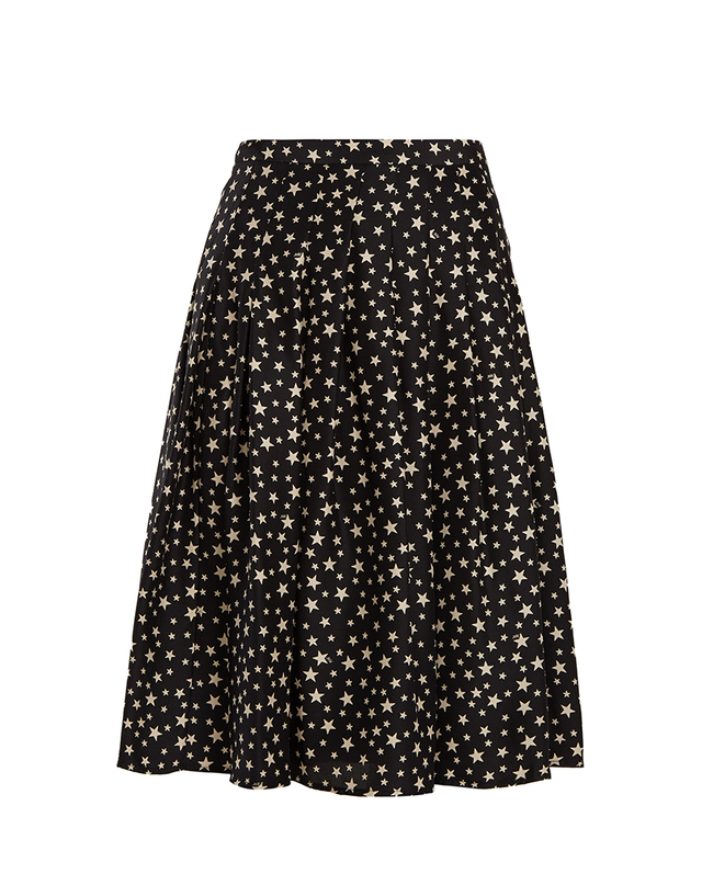HVN Saree Star-Print Pleated Silk Skirt