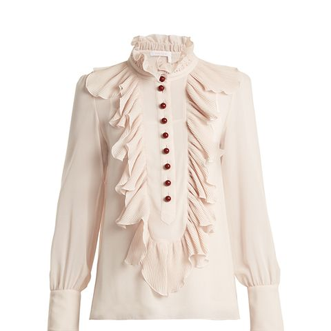 Ruffle-Trimmed Georgette Blouse