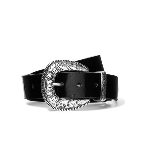 Patent Textured-Leather Belt