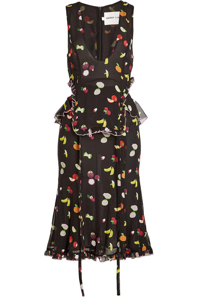 Printed Silk Dress With Cut-Out Details