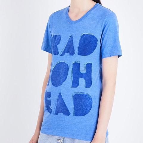Cutout Logo Flock Cotton-Blend T-Shirt