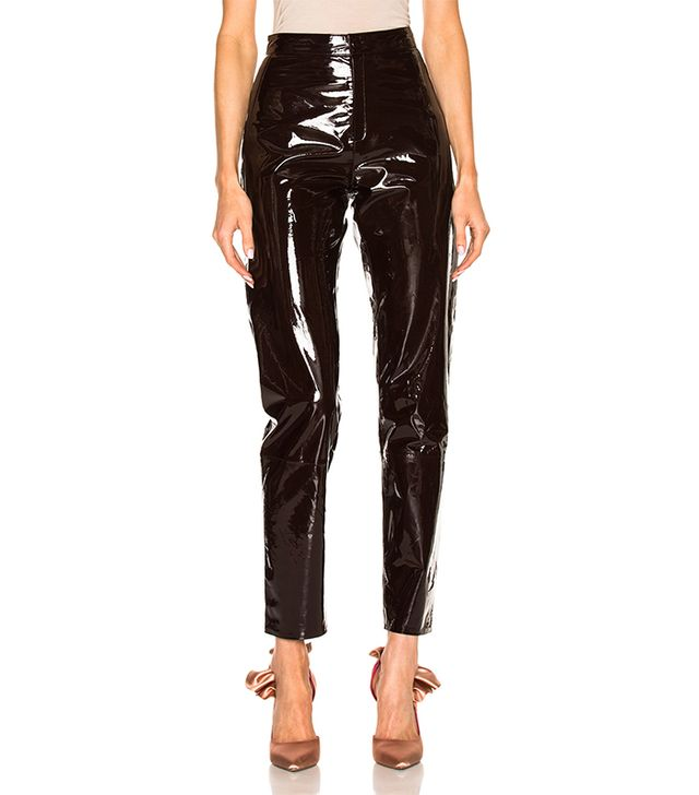 High Waisted Patent Leather Pants