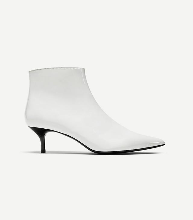Zara Kitten Heel Faux Patent Leather Ankle Boots