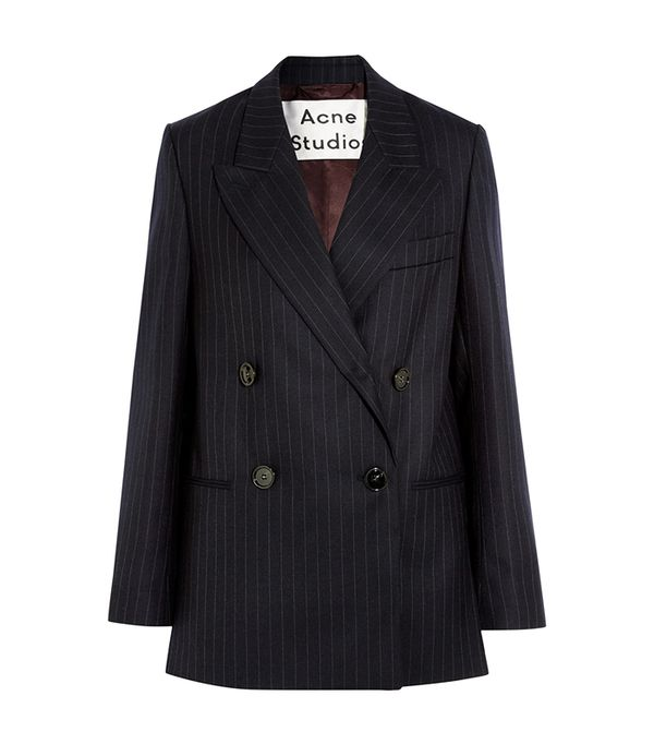 Jara Double-breasted Pinstriped Wool-twill Blazer
