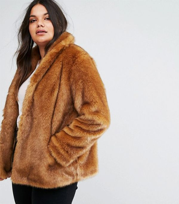ASOS CURVE Coat in Vintage Faux Fur