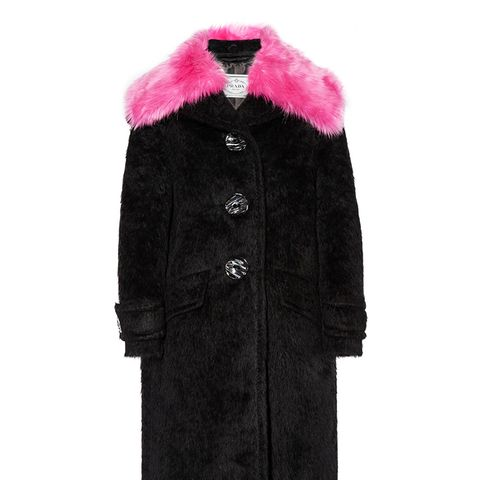 Faux Fur-Trimmed Alpaca and Wool-Blend Coat