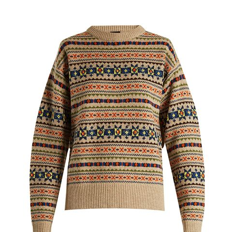 Fair Isle Slit Sleeve Wool-Knit Sweater