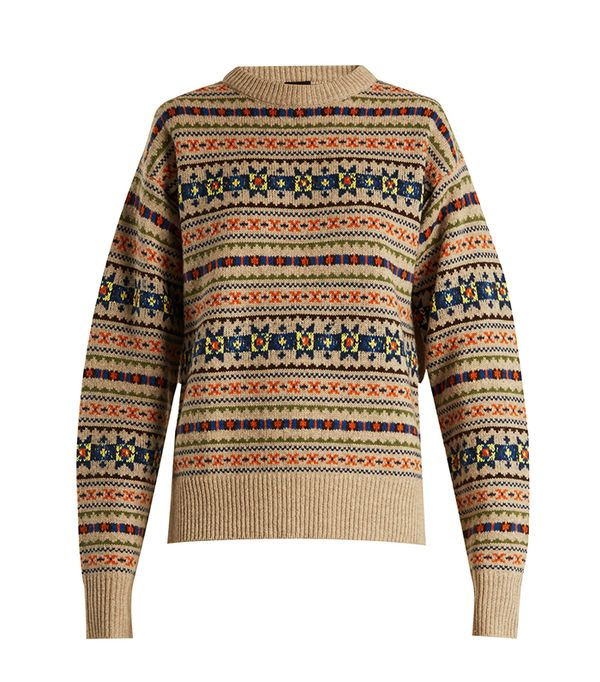 Fair Isle slit-sleeve wool-knit sweater