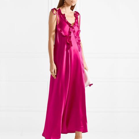 Carla Ruffle-Trimmed Washed-Satin Dress