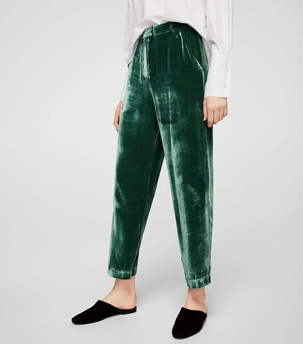 Velvet pleated trousers