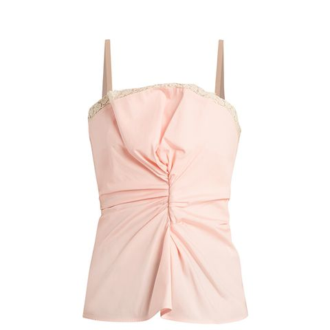 Le Haut Rose Lace-Trimmed Wool Cami Top