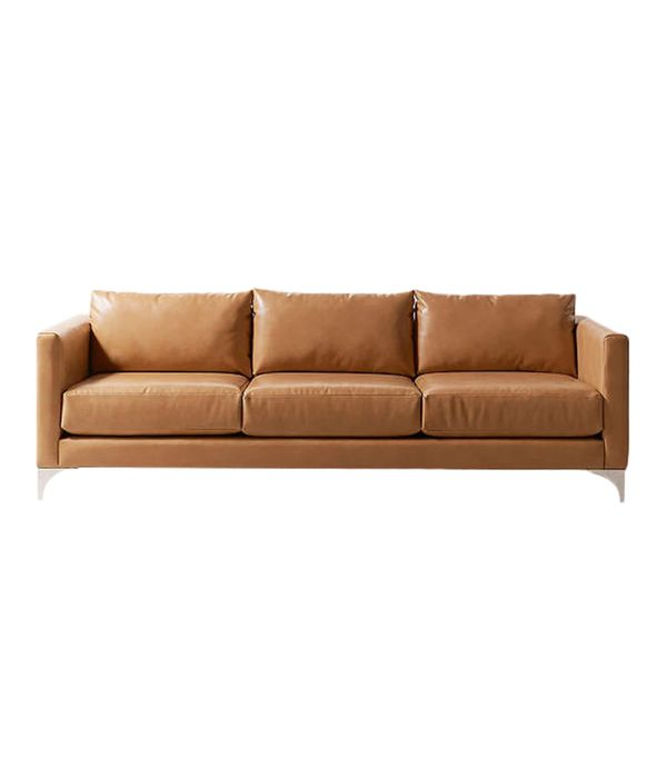 Chamberlin Recycled Leather Sofa - Dark Grey One Size at Urban Outfitters