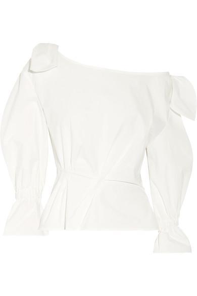 Michelle Off-the-shoulder Cotton-blend Poplin Blouse