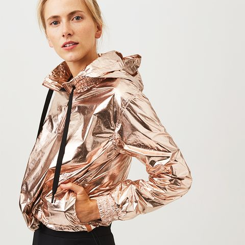 Foiled Pull-On Jacket in Soft Rose Gold, Anytime