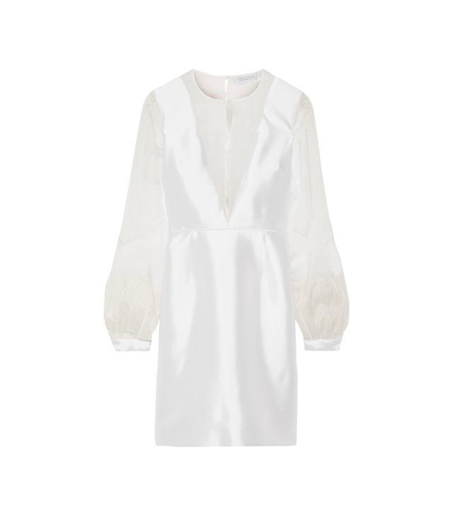 Henrietta Organza-paneled Silk And Wool-blend Mini Dress