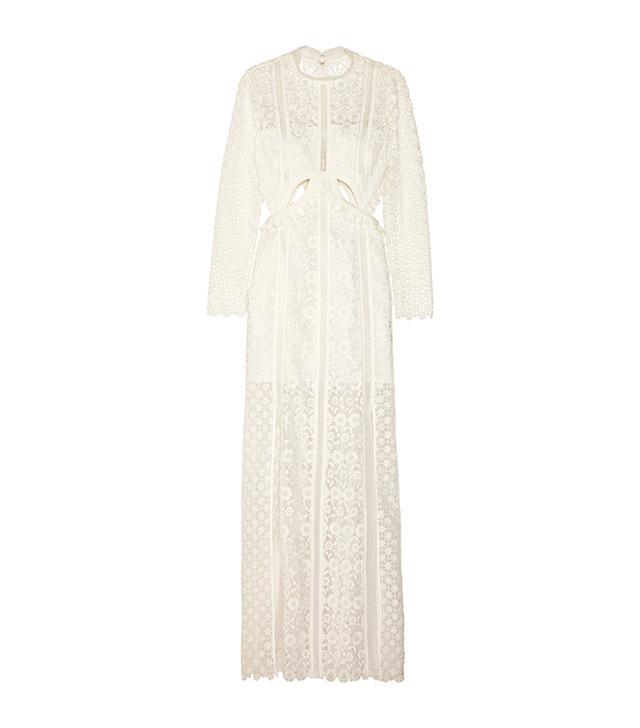 Ruffled Cutout Guipure Lace Gown