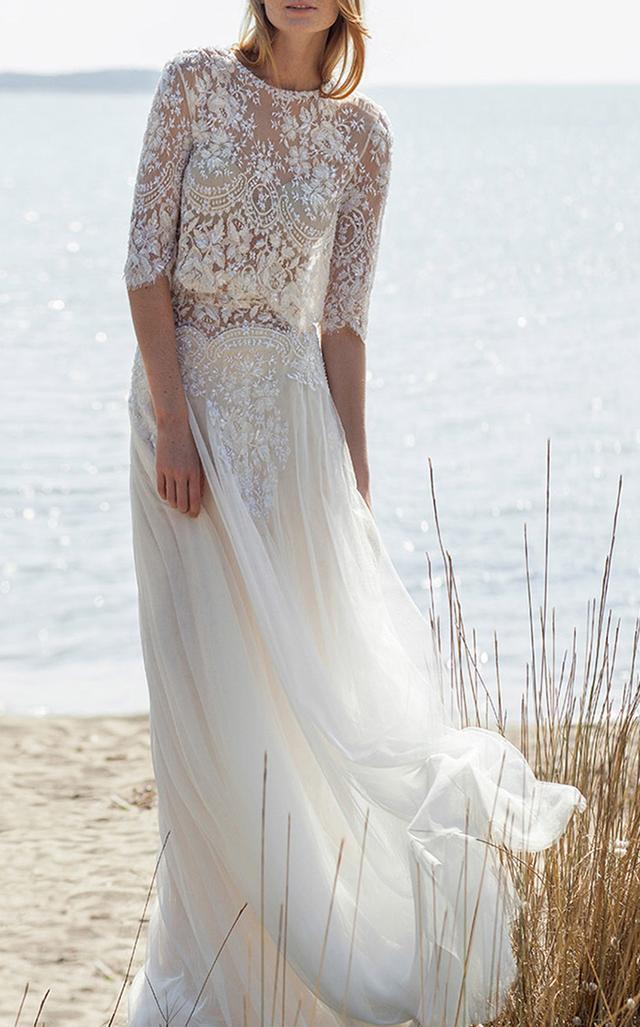 Illusion Beaded Lace Waist Tulle Skirt