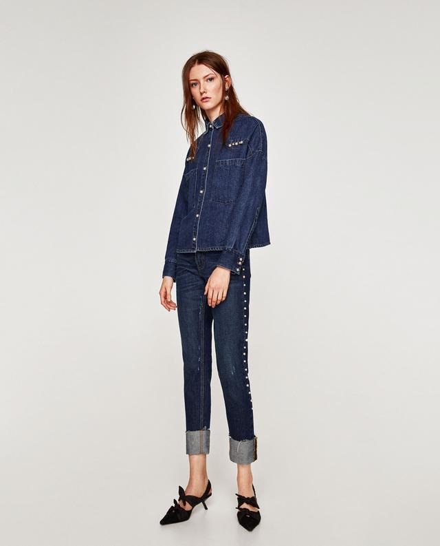 Zara Denim Jeans With Faux Pearls