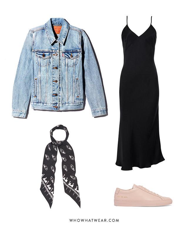 Pictured Above: Levi's Ex-Boyfriend Trucker Jacket ($90); Réalisation 1996 Dress ($195); Common Projects Original Achilles Leather Sneakers ($410); Rockins Eye-Print Super-Skinny Scarf ($125).