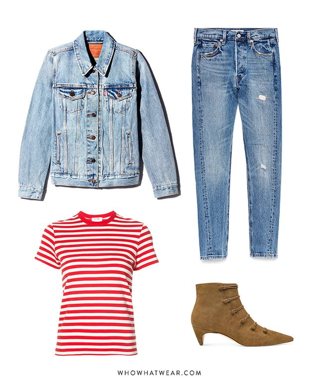 Pictured Above: Levi's Ex-Boyfriend Trucker Jacket ($90) and 501 Skinny Jeans in A Moody Blue ($118); Nine West Zadan Pointy Toe Booties ($119); Re/Done Striped T-Shirt ($115).