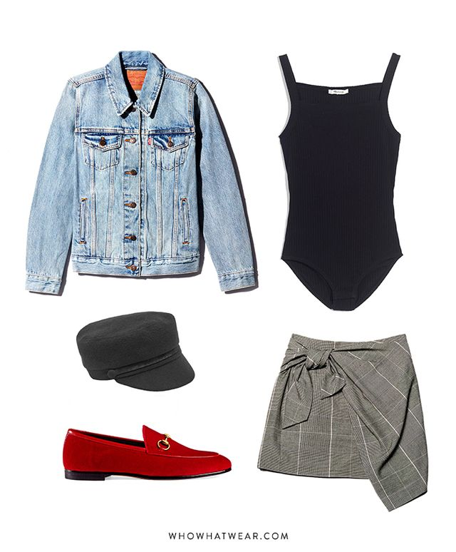 Pictured Above: Levi's Ex-Boyfriend Trucker Jacket ($90); Madewell Square-Neck Tank Bodysuit ($35); Who What Wear Tie Skirt ($25); Gucci Jordaan Velvet Loafers ($670); Eugenia Kim Elyse Marine Cap...