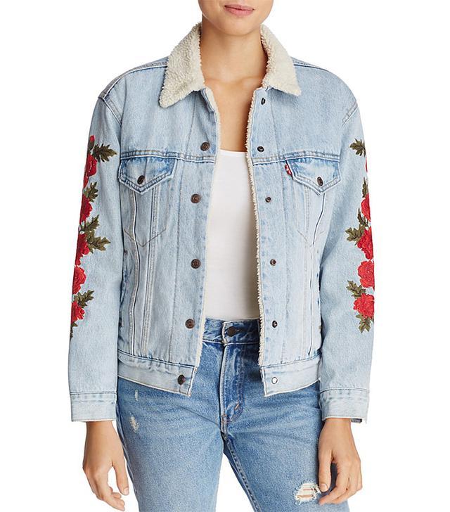 Ex-Boyfriend Trucker Denim Jacket with Embroidery