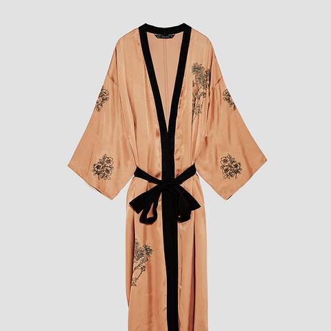 Embroidered Satin Kimono