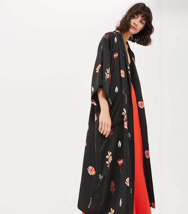 Flower Print Maxi Kimono Jacket