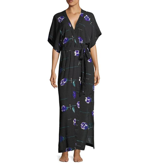 Floral Printed Silk Robe