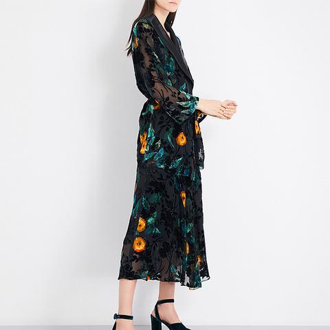 Floral-Print Velvet Devoré Jacket