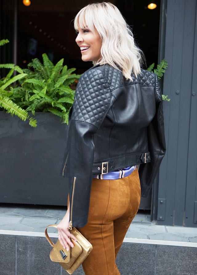 skinny pants leather jacket