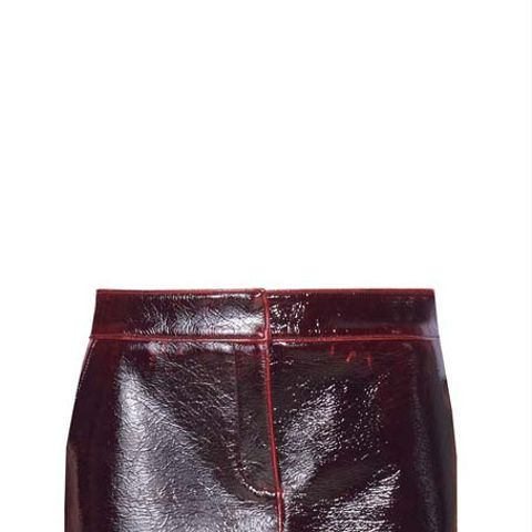 Patent Coated Wool Mini Skirt