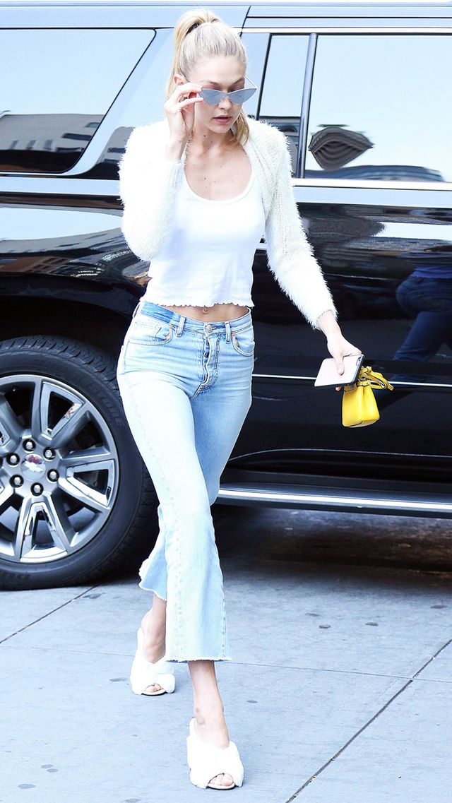 Gigi Hadid cropped cardigan and micro bag