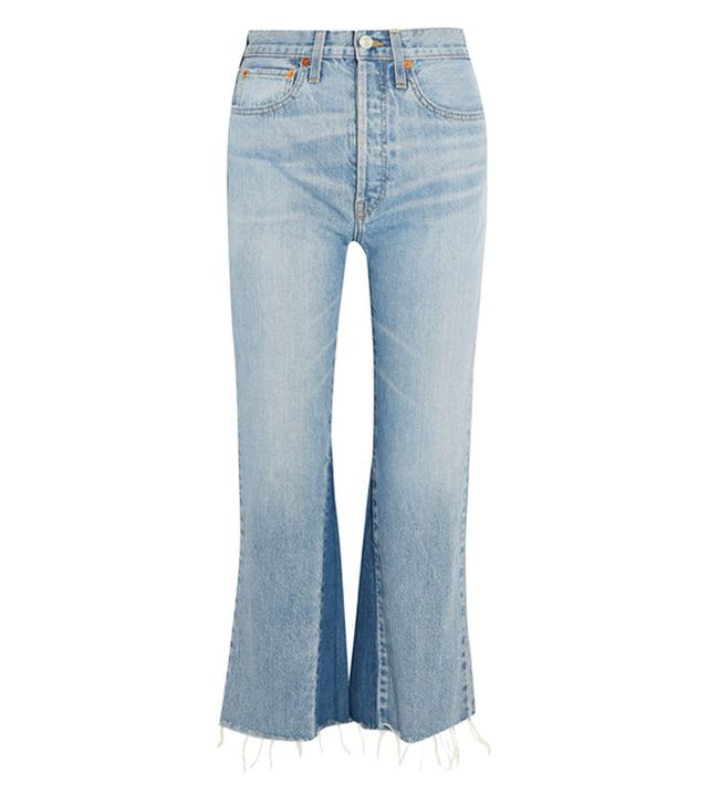 Re/Done Originals Cropped High-Rise Flared Jeans