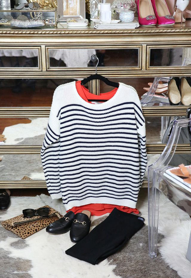 striped sweater black loafers
