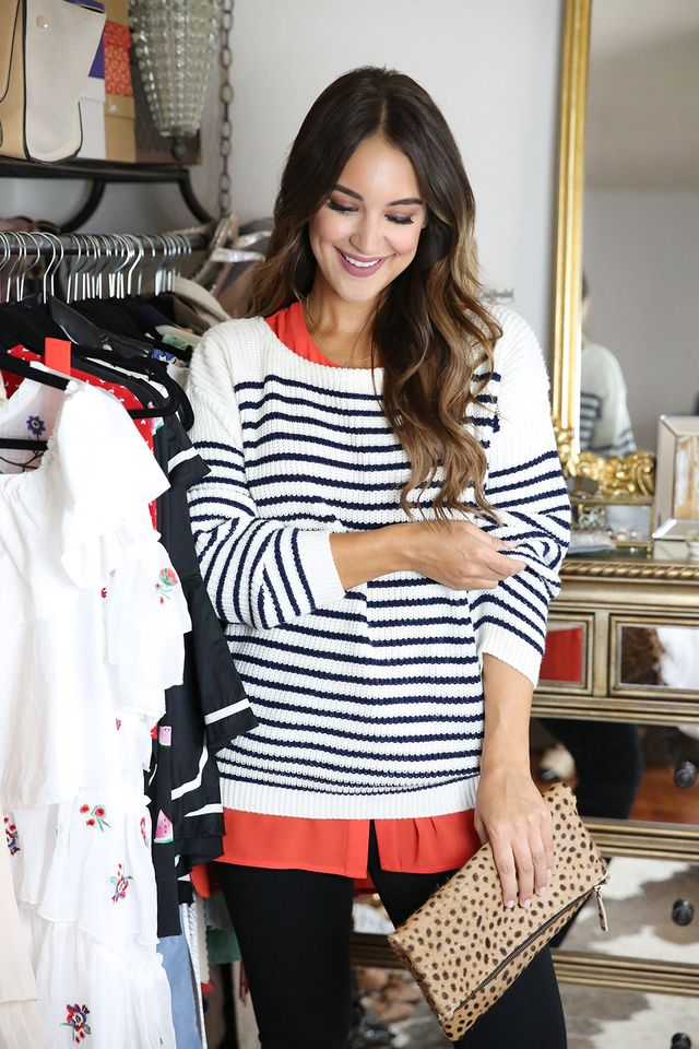 blue white striped sweater