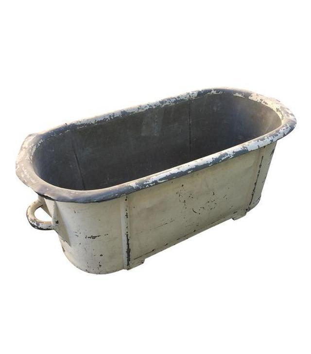 Chairish Early American Antique Tin Tub