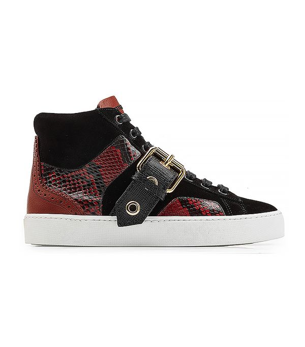 Leather High Top Sneakers with Suede and Snakeskin