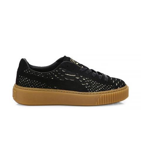 Basket Snakeskin-Embossed Suede Platform Sneakers