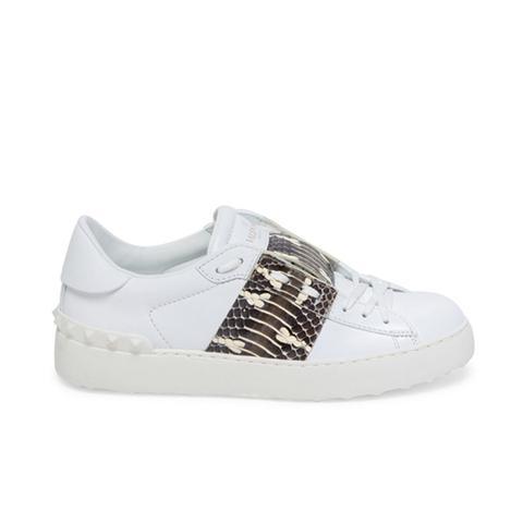Open Snakeskin & Leather Sneakers