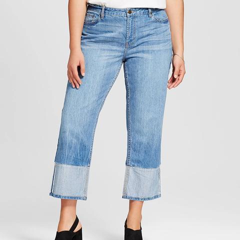 Contrast Cuff Straight Leg Jeans
