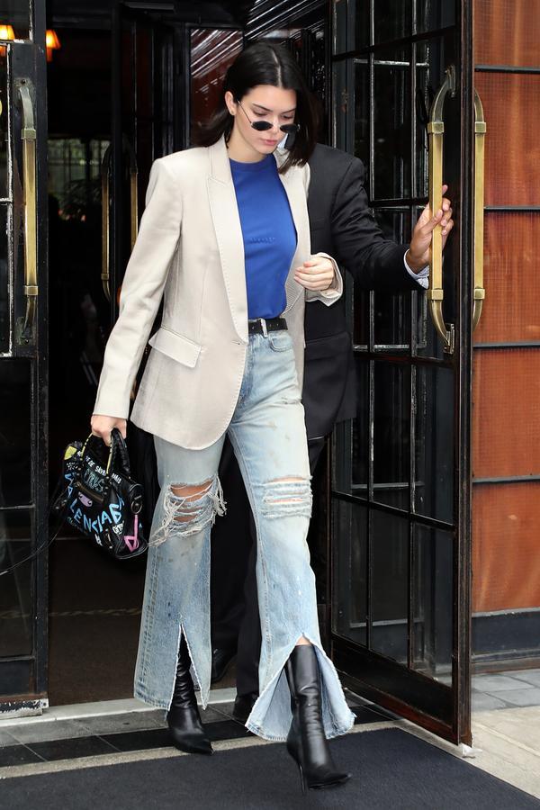 Kendall Jenner wearing split jeans