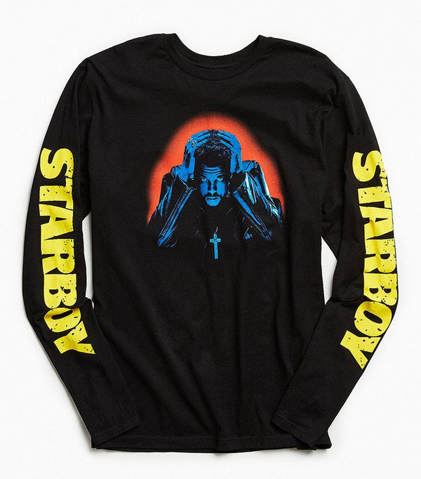 The Weeknd Starboy Photo Long Sleeve Tee - Black S at Urban Outfitters